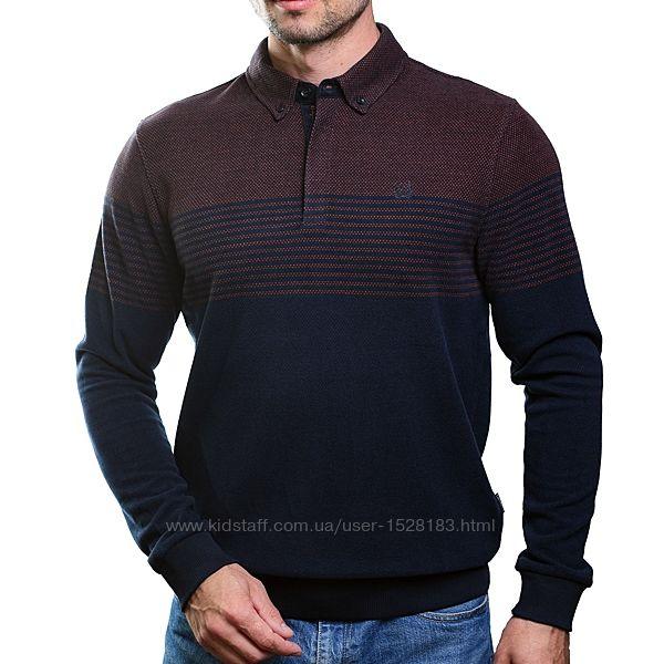 Модная коричнево-синяя рубашка поло Caporicco Турция 2XL скидка