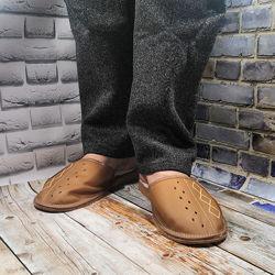 Мужские кожаные тапочки утепленные Tylbut TB208br