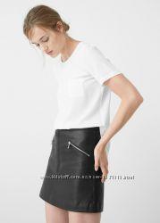 Крутая юбка из эко-кожи с молниями H&M