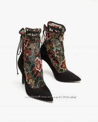 Стильные туфли-чулки ботильоны с вышивкой zara, оригинал, размер 36