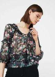 Актуальная блузка летняя, в цветочек, оригинал Mango, р. M 46 10