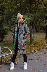 Мега стильное теплое пальто-дутик цветное тренд