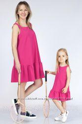 Комплект платьев мама дочька фемели лук с воланом по низу
