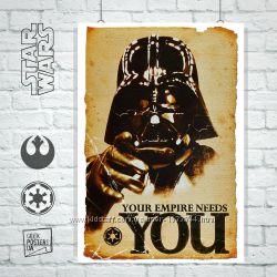 Плакаты по фильму Star Wars, Звездные войны, Вейдер, Соло, джедай