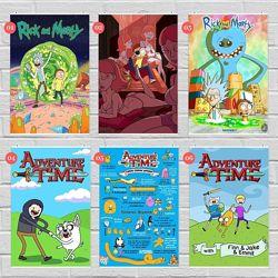 Плакаты Рик и Морти, Время Приключений, Моана, Симпсоны, Футурама, Гринч