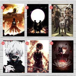 Плакаты по аниме Тоторо, Берсерк, Токийский Гуль, Атака Титанов, Евангелион
