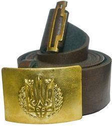 Ремни солдатские кожаные с пряжками латунь на выбор