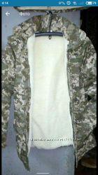 Костюм на зиму светлый пиксель с капюшоном форменный
