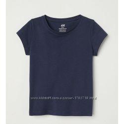 Однотонная темно-синяя футболка, H&M, 0598196005