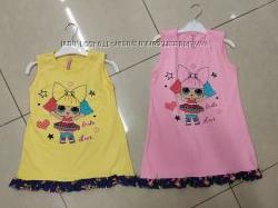 Платья сарафаны для девочек 98 - 140 см. с куколкой ЛОЛ летние хлопковые