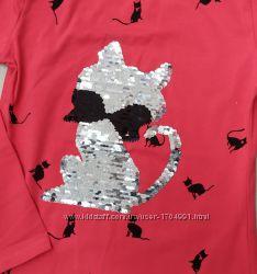 Яркие детские кофточки- туники на девочек 122 - 164 см с котиками из паеток