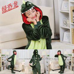 Кигуруми пижамы костюмы для взрослых Зеленый дракон динозавр крокодил 7dc8858560721