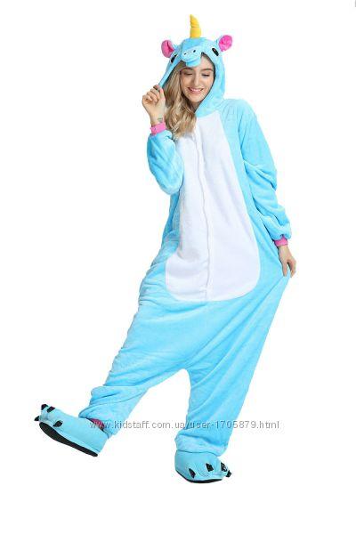 Кигуруми пижамы костюмы взрослые голубой единорог 4f968e7082ff3