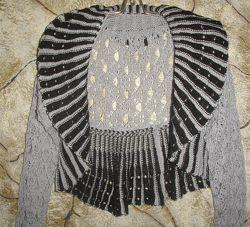 Шикарное ажурное серо-чёрное болеро с длинным рукавом. Разм. унив. 44-48