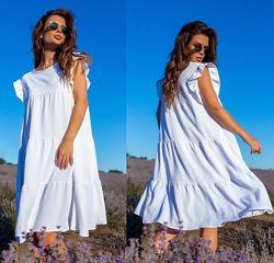 Стильное женское белое платье свободного кроя