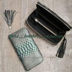 Красивый кошелек из премиум кожи питона 3д с кисточкой. Эксклюзив в Украине