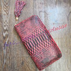 Красный с узором кошелек из премиум кожи питона 3д с кисточкой
