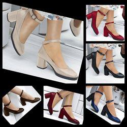 Женские натуральные кожаные туфли на среднем каблуке из натуральной кожи