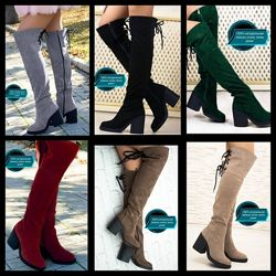 Женские натуральные замшевые сапоги ботфорты на шнуровке высоком каблуке