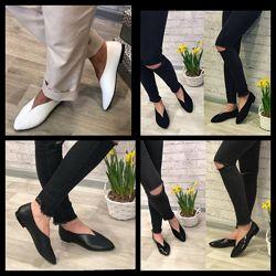 Женские белые чёрные остроносые туфли балетки Натуральная кожа замша
