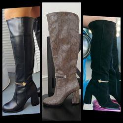 Женские натуральные кожаные замшевые высокие сапоги на каблуке замша кожа