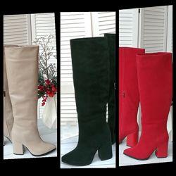 Женские натуральные кожаные замшевые высокие сапоги на высоком каблуке кожа