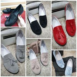 Женские натуральные кожаные замшевые туфли лоферы из натуральной кожи замши