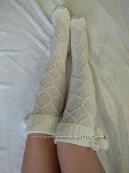 Гольфы вязаные Герда белые, чулки, носки, гетры, колготки