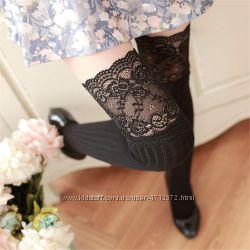 Чулки с кружевом Саманта черные, гольфы выше колен, носки, гетры, колготки