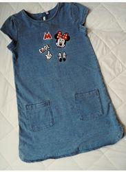 Платье джинс с Минни Маус, 128 см. Дисней.