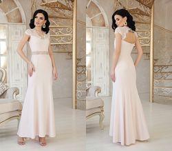 Вечернее нарядное платье с кружевом, арт. 48312. Есть замеры. Размеры S-XL.