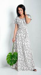 Летнее длинное платье Маргарита код 5797 цвет пудра последний размер48-50.