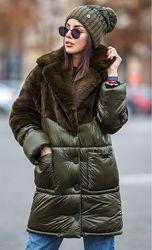 Куртка женская теплая удлиненная зимняя с мехом размеры S-XL