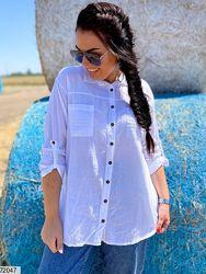 Рубашка женская летняя белая размеры 46-60