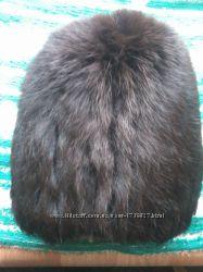 вязаная шапка кошка из натурального меха ондатры на вязаной основе