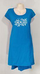 Женское летнее трикотажное платье туника с коротким рукавом и карманами