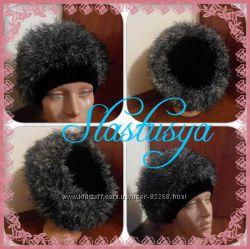 Тёплая женская вязанная шапка, имитация меха