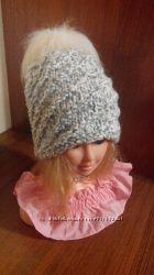 Зимняя женская тёплая шапка грубой вязки