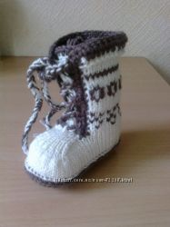 Теплые вязанные пинеточки-сапожки в наличии и под заказ
