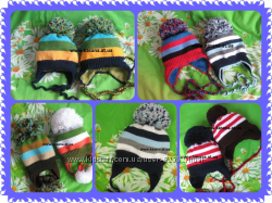 Полосатенькие зимние шапки для мальчиков