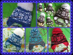Зимняя тёплая шапка снежинка, цвета на выбор