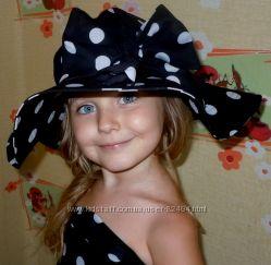 Шикарная летняя шляпка для девочки Горохи для гламурной крохи