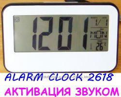 Звуковое управление, LCD часы электронные с большим дисплеем, температура.