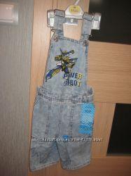 Новый летний джинсовый полукомбинезон Gee Jau на мальчика на 4 г. 10