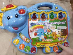 Игрушка слоник, детский слоник, Vtech, синий слоник