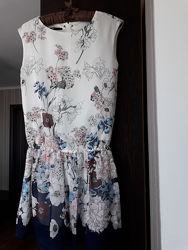 Платье сарафан в цветы с заниженной линией талии