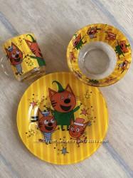 Детский набор посуды из стекла   3 кота