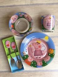 Детский набор посуды из стекла   свинка пеппа