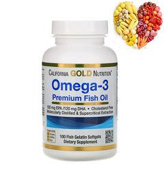 California Gold Nutrition, Омега-3, Рыбий жир высшего качества, 100 т.