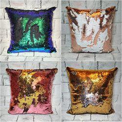 Декоративная подушка с пайетками блестящая, 39х39 см